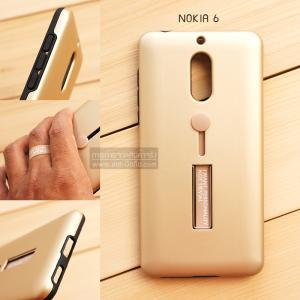 เคส Nokia 6 เคส Hybrid เกรดพรีเมี่ยม 2 ชั้น ขอบยางลดแรงกระแทก พร้อม (ขาตั้ง + สายคล้องนิ้ว) สีทอง