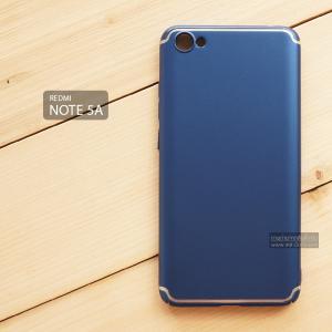 เคส Xiaomi Redmi Note 5A เคสแข็งสีเรียบ คลุมขอบ 4 ด้าน สีน้ำเงิน (แถบสีเงิน บน-ล่าง)