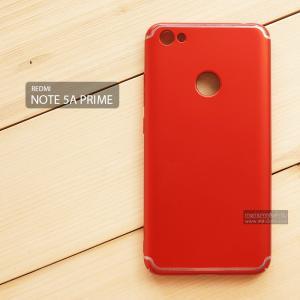 เคส Xiaomi Redmi Note 5A Prime เคสแข็งสีเรียบ คลุมขอบ 4 ด้าน สีแดง (แถบสีเงิน บน-ล่าง)