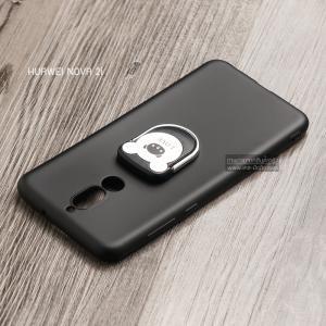 เคส Huawei Nova 2i เคสนิ่ม TPU สีเรียบ พร้อมแหวนมือถือรูปหมี (BEAR) สีดำ