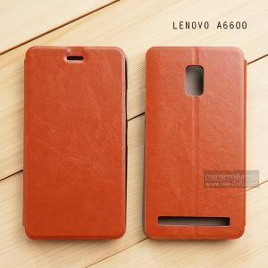 เคส Lenovo A6600 / A6600 PLUS เคสหนัง + แผ่นเหล็กป้องกันตัวเครื่อง (บางพิเศษ) สีน้ำตาล