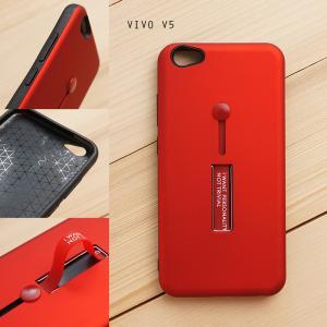 เคส Vivo V5 / V5s / V5 Lite เคส Hybrid เกรดพรีเมี่ยม 2 ชั้น ขอบยางลดแรงกระแทก พร้อม (ขาตั้ง + สายคล้องนิ้ว) สีแดง