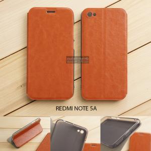 เคส Xiaomi Redmi Note 5A เคสฝาพับบางพิเศษ พร้อมแผ่นเหล็กป้องกันของมีคม พับเป็นขาตั้งได้ สีน้ำตาล