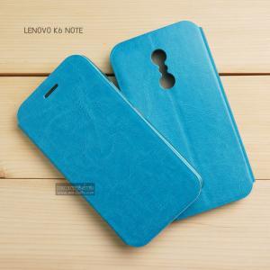 เคส Lenovo K6 Note เคสฝาพับบางพิเศษ พร้อมแผ่นเหล็กป้องกันของมีคม พับเป็นขาตั้งได้ (มีช่องใส่บัตรด้านใน) สีฟ้า
