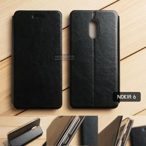 เคส Nokia 6 เคสฝาพับบางพิเศษ พร้อมแผ่นเหล็กป้องกันของมีคม พับเป็นขาตั้งได้ (MOFI) สีดำ