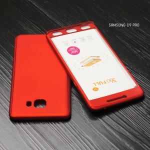 เคส Samsung Galaxy C9 Pro เคสแข็งด้านหน้า - ด้านหลัง ครอบคลุม 360 องศา (พร้อมกระจกกันรอย) สีแดง