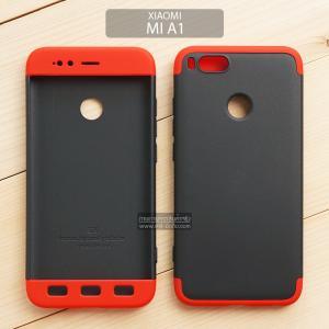เคส Xiaomi Mi A1 เคสแข็งแบบ 3 ส่วน ครอบคลุม 360 องศา (สีดำ - แดง)