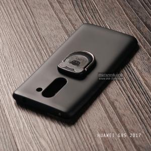 เคส Huawei GR5 (2017) เคสนิ่ม TPU สีเรียบ พร้อมแหวนมือถือรูปหมี (BEAR) สีดำ