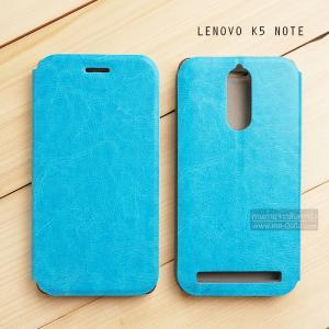 เคส Lenovo K5 Note เคสหนัง + แผ่นเหล็กป้องกันตัวเครื่อง (บางพิเศษ) สีฟ้า