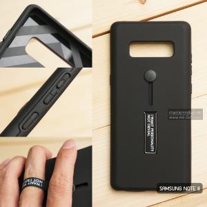 เคส Samsung Galaxy Note 8 เคส Hybrid เกรดพรีเมี่ยม 2 ชั้น ขอบยางลดแรงกระแทก พร้อม (ขาตั้ง + สายคล้องนิ้ว) สีดำ