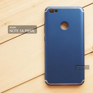 เคส Xiaomi Redmi Note 5A Prime เคสแข็งสีเรียบ คลุมขอบ 4 ด้าน สีน้ำเงิน (แถบสีเงิน บน-ล่าง)