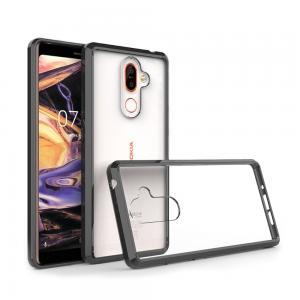 เคส Nokia 7 Plus เคส Hybrid ฝาหลังอะคริลิคใส ขอบยางกันกระแทก สีดำ