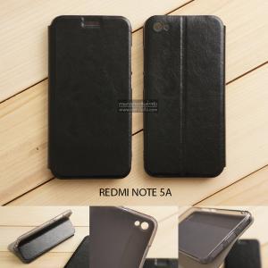 เคส Xiaomi Redmi Note 5A เคสฝาพับบางพิเศษ พร้อมแผ่นเหล็กป้องกันของมีคม พับเป็นขาตั้งได้ สีดำ
