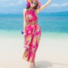 ชุดเดรสไปทะเล พร้อมส่ง ชุดเดรสยาว MAXIDRESS สีชมพูสดใส ลายนกยูง สวยหวาน มีซับใน