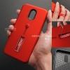 เคส Samsung J7 Plus เคส Hybrid เกรดพรีเมี่ยม 2 ชั้น ขอบยางลดแรงกระแทก พร้อม (ขาตั้ง + สายคล้องนิ้ว) สีแดง