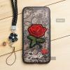 เคส iPhone 6 / 6s เคสอะครีลิค ขอบยางสีดำ ลายดอกกุหลาบ (พร้อมสายคล้องโทรศัพท์) พื้นหลังสีดำ
