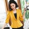 เสื้อสูทแฟชั่น เสื้อสูทสำหรับผู้หญิง พร้อมส่ง สีเหลือง คอปก แขนพับสามส่วน หัวไหล่ยกนิดๆ