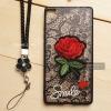 เคส Huawei P8 เคสอะครีลิค ขอบยางสีดำ ลายดอกกุหลาบ (พร้อมสายคล้องโทรศัพท์) พื้นหลังสีดำ