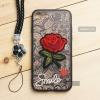 เคส iPhone 7 / 8 เคสอะครีลิค ขอบยางสีดำ ลายดอกกุหลาบ (พร้อมสายคล้องโทรศัพท์) พื้นหลังสีดำ