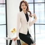 เสื้อสูทแฟชั่น เสื้อสูทสำหรับผู้หญิง พร้อมส่ง สีครีม ผ้าคอตตอน 100 % เนื้อดี