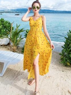 ชุดเดรสยาว MAXIDRESS พร้อมส่ง สีเหลือง ลายดอกไม้น่ารัก สายเดี่ยว ผ้าชีฟอง เนื้อผ้านิ่มดีมากๆ ใส่สบาย