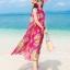 ชุดเดรสไปทะเล พร้อมส่ง ชุดเดรสยาว MAXIDRESS สีชมพูสดใส ลายนกยูง สวยหวาน มีซับใน thumbnail 3