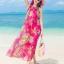 ชุดเดรสไปทะเล พร้อมส่ง ชุดเดรสยาว MAXIDRESS สีชมพูสดใส ลายนกยูง สวยหวาน มีซับใน thumbnail 6
