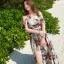ชุดเดรสยาว MAXIDRESS สายผูกคล้องคอ โชว์ไหล่เซ็กซี่ พร้อมส่ง สีพื้นขาว ลายใบไม้สีเขียว ดอกไม้สีแดงสวย thumbnail 1