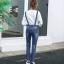 เอี๊ยมกางเกงขายาว พร้อมส่ง สียีนส์เข้ม ฟอกสีสวย แต่งขาดเซอร์ๆสุดเท่ห์แต่ลายปะตัวการ์ตูนน่ารัก ขายาว แบบใหม่สไตล์เกาหลี thumbnail 5