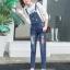 เอี๊ยมกางเกงขายาว พร้อมส่ง สียีนส์เข้ม ฟอกสีสวย แต่งขาดเซอร์ๆสุดเท่ห์แต่ลายปะตัวการ์ตูนน่ารัก ขายาว แบบใหม่สไตล์เกาหลี thumbnail 2