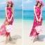ชุดเดรสไปทะเล พร้อมส่ง ชุดเดรสยาว MAXIDRESS สีชมพูสดใส ลายนกยูง สวยหวาน มีซับใน thumbnail 8