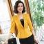 เสื้อสูทแฟชั่น เสื้อสูทสำหรับผู้หญิง พร้อมส่ง สีเหลือง คอปก แขนพับสามส่วน หัวไหล่ยกนิดๆ thumbnail 4