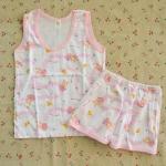 [ไซส์ 9-12 เดือน] ชุดเสื้อกล้ามเด็ก กางเกงขาสั้น ผ้า Cotton 100% สีชมพู