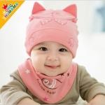 ไซส์ 0-8 เดือน หมวก Fish Cat พร้อมผ้ากันเปื้อนสามเหลี่ยม - สีชมพู