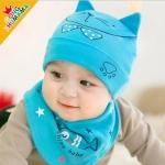 ไซส์ 0-8 เดือน หมวก Fish Cat พร้อมผ้ากันเปื้อนสามเหลี่ยม - สีฟ้า
