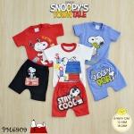 ไซส์ 6-9 9-12 12-18 18-24 เดือน ชุดเสื้อผ้าเด็กเล็ก พร้อมกางเกงขาสั้น ลายสนูปปี้ แพ็ค 3 ตัว