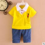 ไซส์ 90 100 ชุดเสื้อผ้าเด็กผู้ชาย ผ้านิ่มยืดใส่สบาย แฟชั่นนำเข้า - สีเหลือง