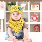 ไซส์ 3-24 เดือน หมวกเด็กเบสบอล พร้อมผ้ากันเปื้อน - สีเหลือง