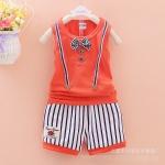 ไซส์ L 12-18 เดือนิเสื้อกล้ามเด็ก Summer กางเกงขาสั้น - สีส้ม