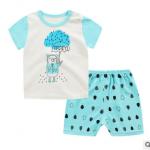 ไซส์ 100 ชุดเสื้อกางเกง พิมพ์ลายใส่สบายหน้าร้อน - ลายหมีฟ้า