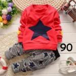 ไซส์ 90 เสื้อแขนยาวสีแดง กางเกงขายาวลายสก๊อต