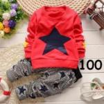 ไซส์ 100 เสื้อแขนยาวสีแดง กางเกงขายาวลายสก๊อต