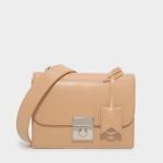 กระเป๋าสะพายข้าง CHARLES & KEITH PUSH-LOCK SATCHEL BAG CK2-90780444 กระเป๋าคลัช หนังเรียบ