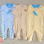 ไซส์ 6-9 เดือน ชุดหมีเด็กแบบคลุมเท้า แขนยาวและขาสั้น แพ็ค 3 ตัว