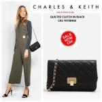 กระเป๋า Charles & Keith Quilted Clutch CK2-70700460 ลายสามเหลี่ยม พร้อมส่งที่ไทย ชนชอปสิงคโปร์ 2017