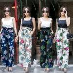 Summer flower set เสื้อสีพื้นคอเหลี่ยมผ้าเนื้อดีมาพร้อมกางเกงขายาวเอวย่นจับจีบรอบเอว