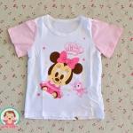 ไซส์ 3-6,6-9,9-12,12-18 เดือน เสื้อยืดเด็กผ้านิ่มเหมาะสำหรับหน้าร้อน ลายมินนี่