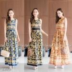 Maxdress เดรสยาวผ้าโฟเวย์พิมพ์ลายไทยคมชัด