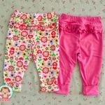 ไซส์ 12 24 เดือน กางเกงขายาวเด็ก เนื้อผ้าฝ้าย นิ่มมากๆ แพ็ค 2 ตัว - ลายดอกไม้
