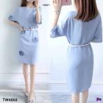 Dress เดรสสีฟ้า+เข็มขัดสีขาว เดรสสีพื้นเรียบแต่งด้วยผ้าอัดพลีด้านหน้าและแขน